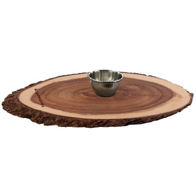 Live Edge Walnut Oval Serving Board with Dip Bowl